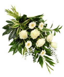 Snittblomster * Begravelse - Bårebukett med sesongens hvite blomster