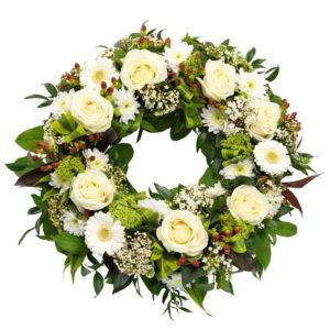 Snittblomster * Begravelse - Klassisk bårekrans - roser, gerbera, krysantemum, viburnum og årstidens grønt