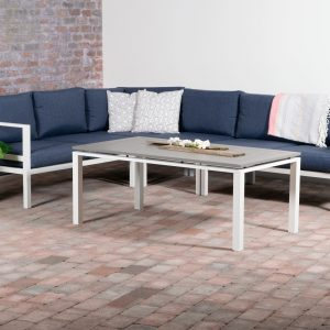 Adelaide Hjørnegruppe + bord (hvit, aluminium) * Marineblå