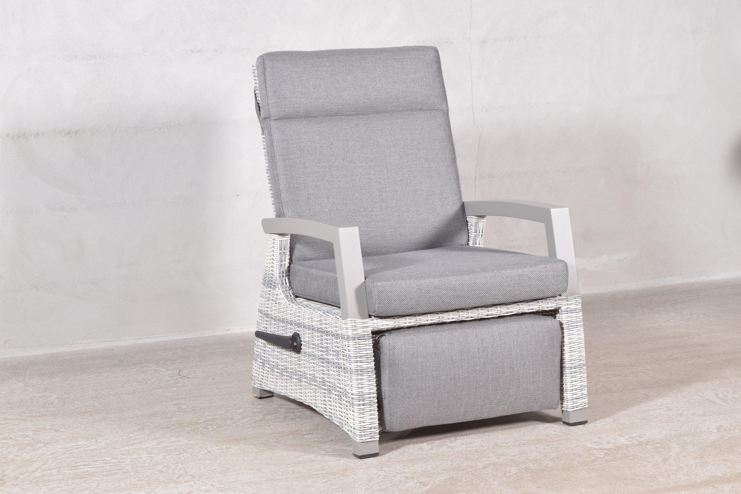 Queen Recliner stol med fotskammel (aske grå, halvrund