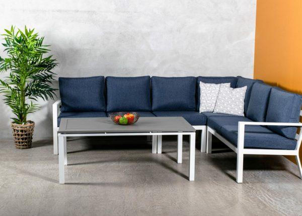 Adelaide Hjørnegruppe (hvit) + bord * Marineblå