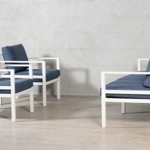 Adelaide * 3-seter sofa og 2 stoler – Marineblå