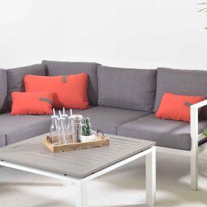 Adelaide Hjørnegruppe + bord (hvit, aluminium) * Mørke grå