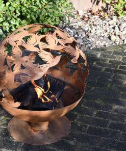 Horpestad Plantesalg * Utepeis og bålpanne - Bålfat laserskåret fuglemønster i rust
